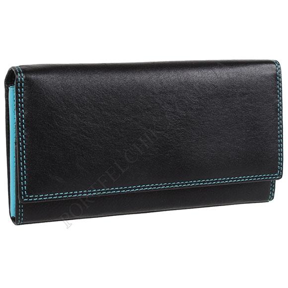 Шкіряний жіночий гаманець Visconti CD 21 Black-Aqua