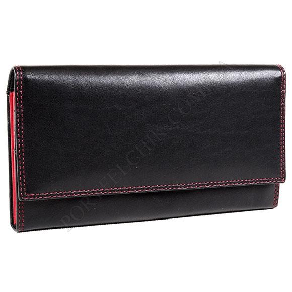 Шкіряний жіночий гаманець Visconti CD 21 Black-Red