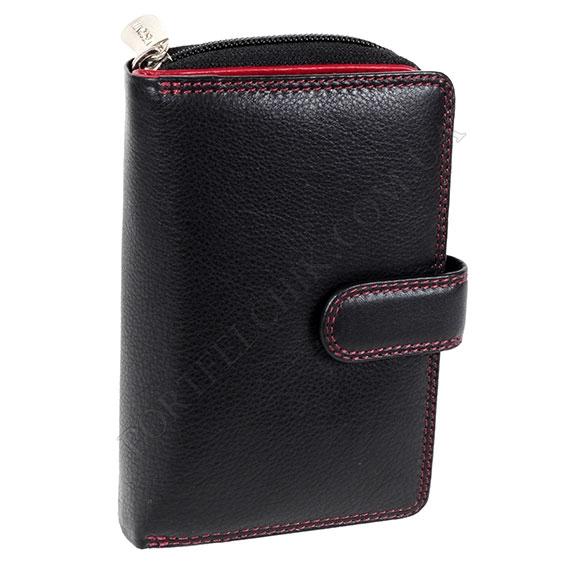 Кожаный женский кошелек Visconti CD 22 Black-Red