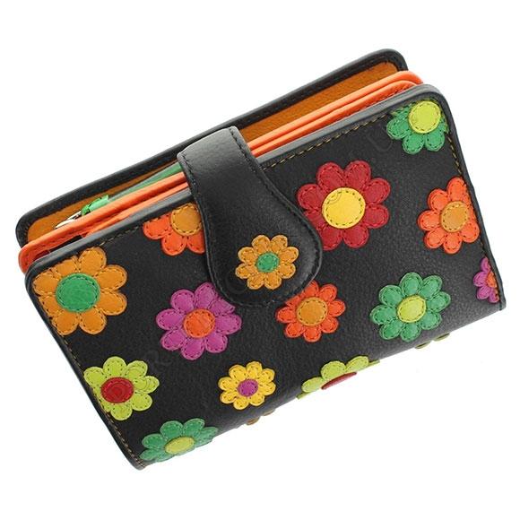 Шкіряний жіночий гаманець Visconti DS-82 Black Pace