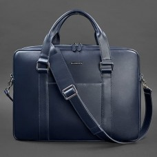 Сумка портфель кожаная BlankNote BN-BAG-37-navy-blue