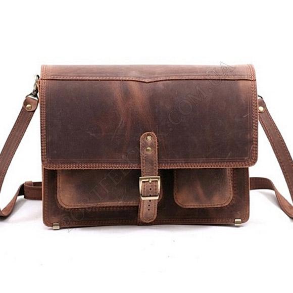 Мужская сумка через плечо Manufatto-Почтальон Crazy Horse Brown коричневый