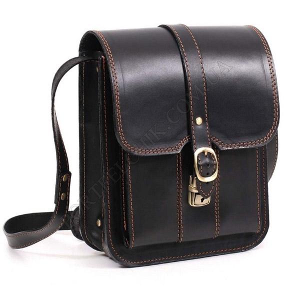 Мужская сумка через плечо Manufatto СПБ-3 Black с коричневой нитью черный