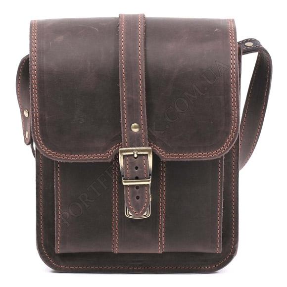 Мужская сумка через плечо Manufatto СПБ-3 Crazy Horse Brown коричневый