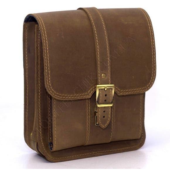 Мужская сумка через плечо Manufatto СПБ-3 Crazy Horse Olive оливковый