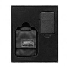 Набор Zippo 49402 236 Blk Crackle Ltr Tactical Pouch Black GS черный