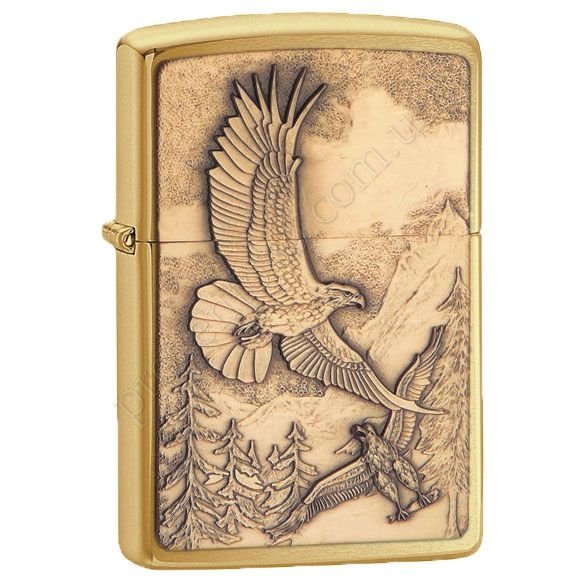 Запальничка Zippo 20854 Where Eagles Dare Brushed Brass