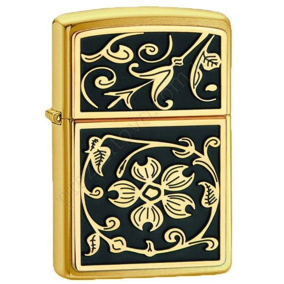 Запальничка Zippo 20903 Gold Floral Flush Emblem Brushed Brass