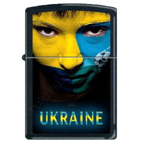 Запальничка Zippo 218US Ukraine Soccer Face Black Matte
