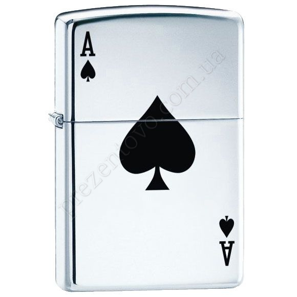 Запальничка Zippo 24011 Lucky Ace High Polish Chrome
