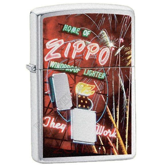 Запальничка Zippo 24069 Neon Sign Brushed Chrome