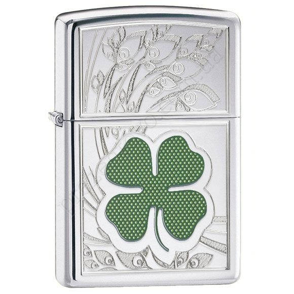 Зажигалка Zippo 24699 Four Leaf Clover High Polish Chrome