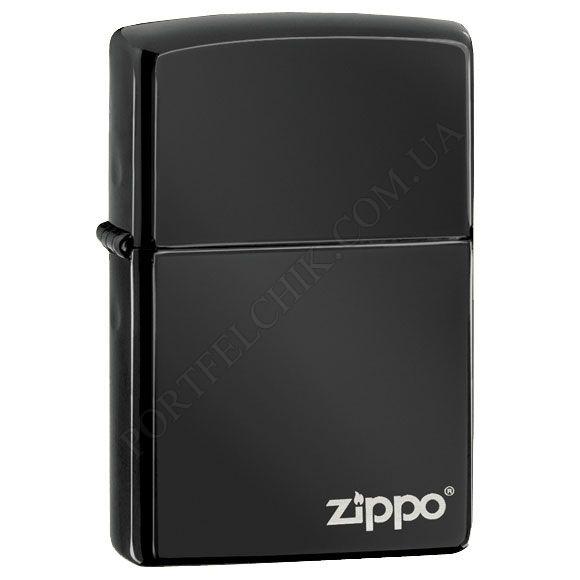 Запальничка Zippo 24756ZL Ebony w/Zippo Logo