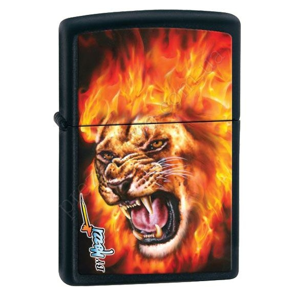 Запальничка Zippo 28003 Mazzi Flaming Lion Head Black Matte