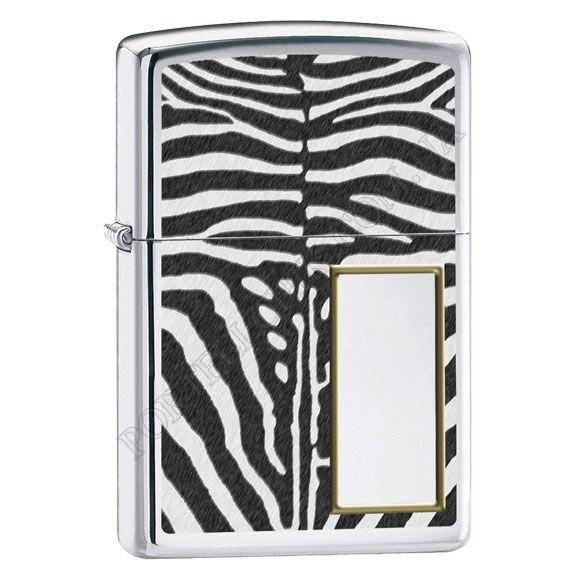 Зажигалка Zippo 28046 Zebra Print High Polish Chrome