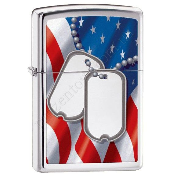Запальничка Zippo 28291 Flag & Dog Tags High Polish Chrome