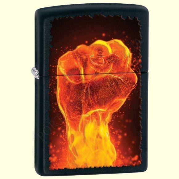 Запальничка Zippo 28308 Fire Fist Black Matte