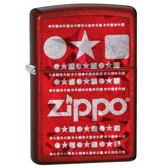 Зажигалка Zippo 28342 Circle Star Square Candy Apple Red