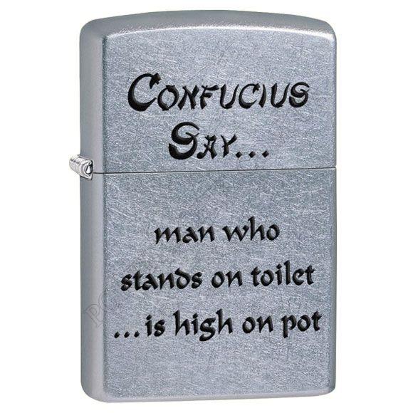 Запальничка Zippo 28459 Confucius Say Toilet Street Chrome