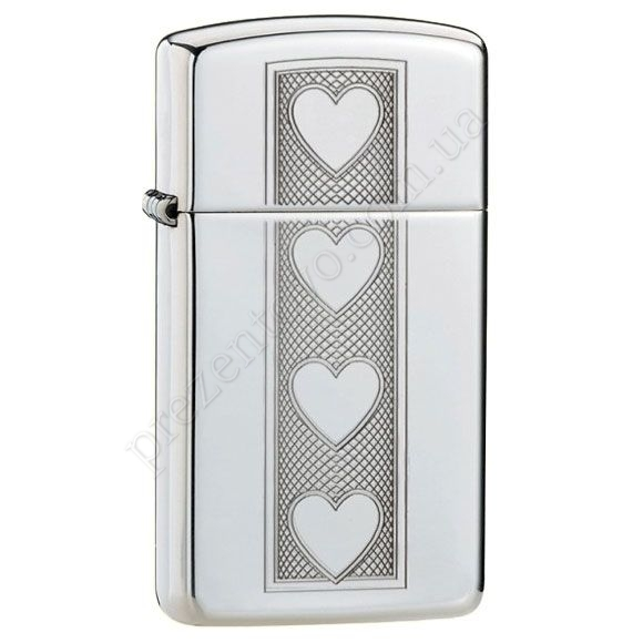 Запальничка Zippo 28476 Slim Heart High Polish Chrome