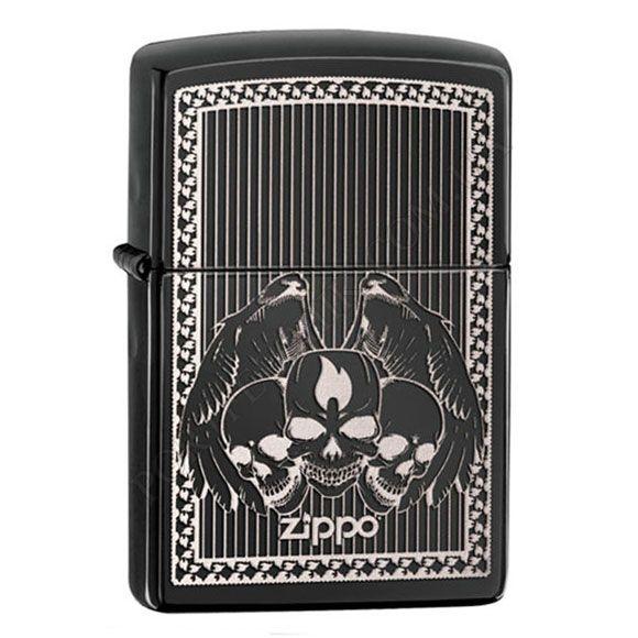 Зажигалка Zippo 28678 Iced Skulls Ebony
