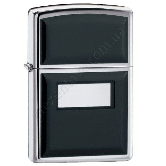 Запальничка Zippo 355 Ultralite Black Emblem High Polish Chrome