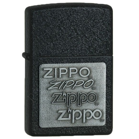 Запальничка Zippo 363 Pewter Emblem Black Crackle