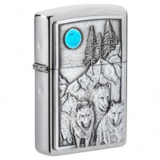 Запальничка Zippo 49295 Wolf Pack and Moon Emblem