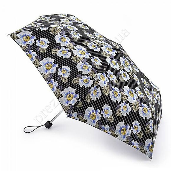 Парасолька Fulton L553 Superslim-2 Pinstripe Flower чорний жіночий