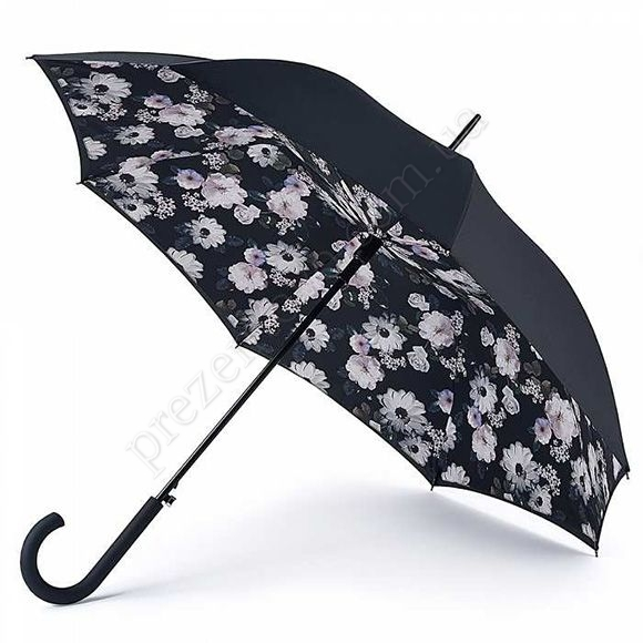 Парасолька Fulton L754 Bloomsbury-2 Mono Boquet чорний жіночий