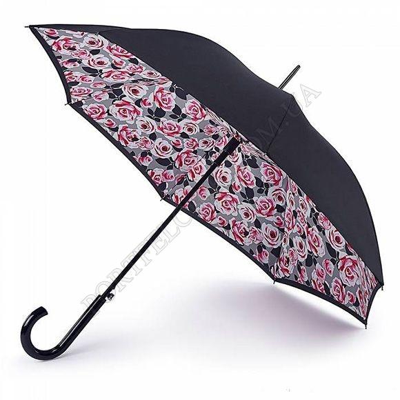 Парасолька Fulton L754 Bloomsbury-2 Painted Roses чорний жіночий