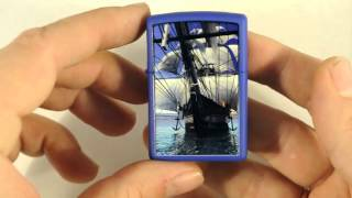 Зажигалка Zippo 229 530 Sailing Ship Royal Blue Matte