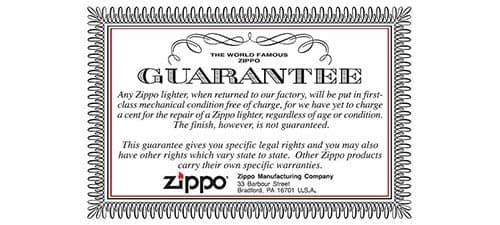 Довічна гарантія zippo